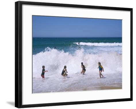 Children Playing in the Surf, Near Gosford, New South Wales, Australia-Ken Wilson-Framed Art Print
