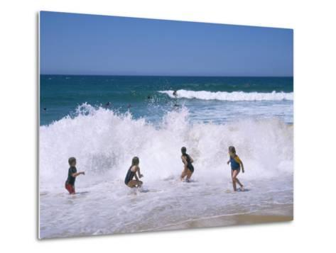 Children Playing in the Surf, Near Gosford, New South Wales, Australia-Ken Wilson-Metal Print