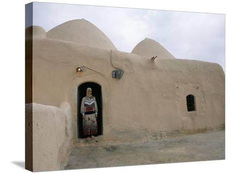 Woman in Doorway of a 200 Year Old Beehive House in the Desert, Ebla Area, Syria, Middle East-Alison Wright-Stretched Canvas Print