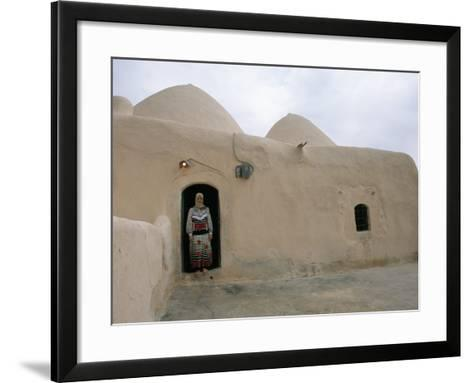Woman in Doorway of a 200 Year Old Beehive House in the Desert, Ebla Area, Syria, Middle East-Alison Wright-Framed Art Print