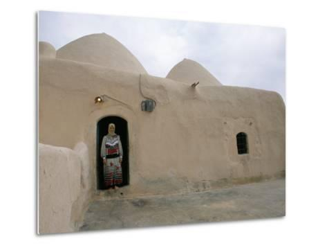 Woman in Doorway of a 200 Year Old Beehive House in the Desert, Ebla Area, Syria, Middle East-Alison Wright-Metal Print
