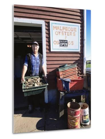 Dale Marchland Selling Malpeque Oysters, Malpeque, Prince Edward Island, Canada-Alison Wright-Metal Print