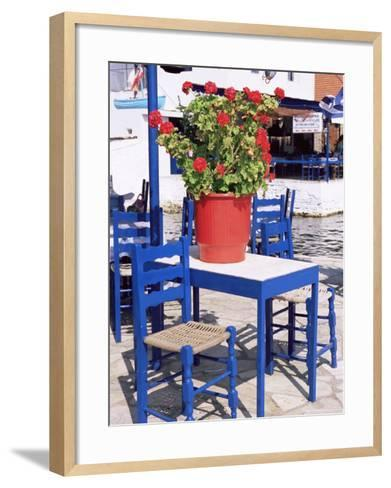 Chairs and Table, Agia Kyriaki, Pelion, Greece-R H Productions-Framed Art Print