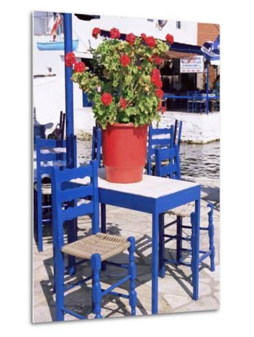 Chairs and Table, Agia Kyriaki, Pelion, Greece-R H Productions-Metal Print
