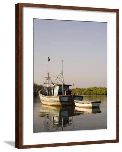 Fishing Boats on Backwater Near Mobor, Goa, India-R H Productions-Framed Art Print
