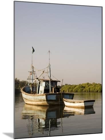 Fishing Boats on Backwater Near Mobor, Goa, India-R H Productions-Mounted Photographic Print