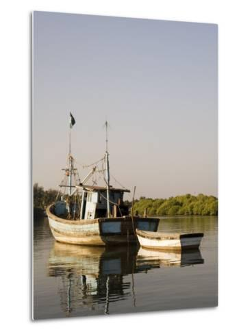 Fishing Boats on Backwater Near Mobor, Goa, India-R H Productions-Metal Print