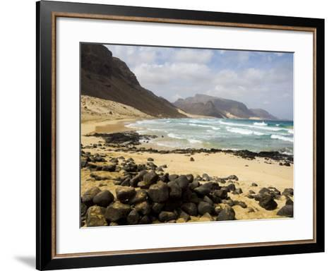 Deserted Beach at Praia Grande, Sao Vicente, Cape Verde Islands, Africa-R H Productions-Framed Art Print