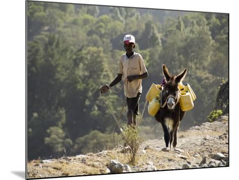 Donkey Carrying Water, Santo Antao, Cape Verde Islands, Africa-R H Productions-Mounted Photographic Print