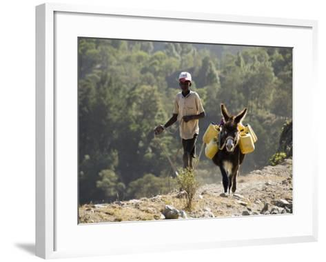 Donkey Carrying Water, Santo Antao, Cape Verde Islands, Africa-R H Productions-Framed Art Print