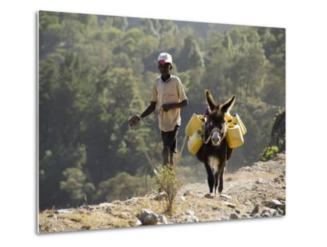 Donkey Carrying Water, Santo Antao, Cape Verde Islands, Africa-R H Productions-Metal Print