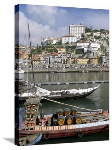 Port Barges on Douro River, with City Beyond, Oporto (Porto), Portugal-Upperhall-Stretched Canvas Print