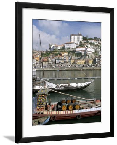 Port Barges on Douro River, with City Beyond, Oporto (Porto), Portugal-Upperhall-Framed Art Print