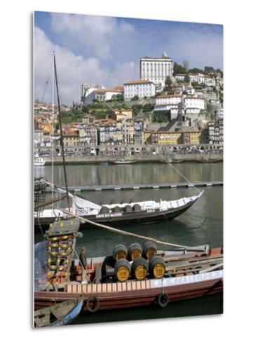 Port Barges on Douro River, with City Beyond, Oporto (Porto), Portugal-Upperhall-Metal Print