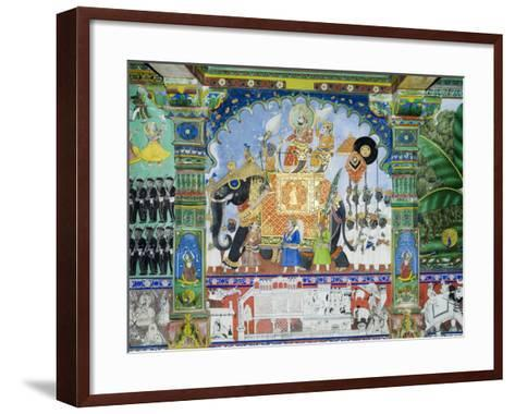 Beautiful Frescoes on Walls of the Juna Mahal Fort, Dungarpur, Rajasthan State, India-R H Productions-Framed Art Print