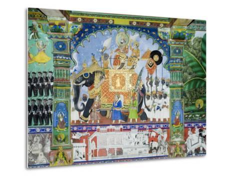 Beautiful Frescoes on Walls of the Juna Mahal Fort, Dungarpur, Rajasthan State, India-R H Productions-Metal Print
