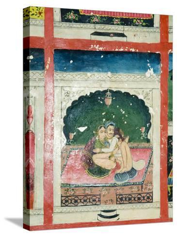 Scenes from the Kama Sutra from Cupboard in the Juna Mahal Fort, Dungarpur, Rajasthan State, India-R H Productions-Stretched Canvas Print