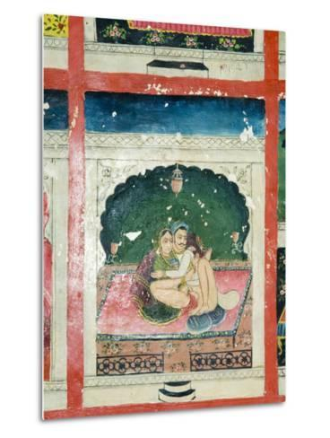 Scenes from the Kama Sutra from Cupboard in the Juna Mahal Fort, Dungarpur, Rajasthan State, India-R H Productions-Metal Print