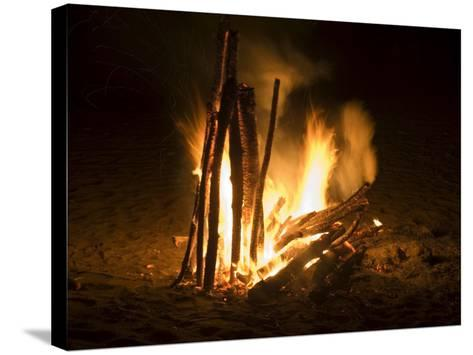 Bonfire on Beach, Punta Islita, Nicoya Pennisula, Pacific Coast, Costa Rica, Central America-R H Productions-Stretched Canvas Print