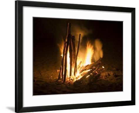Bonfire on Beach, Punta Islita, Nicoya Pennisula, Pacific Coast, Costa Rica, Central America-R H Productions-Framed Art Print