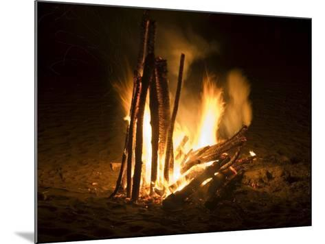Bonfire on Beach, Punta Islita, Nicoya Pennisula, Pacific Coast, Costa Rica, Central America-R H Productions-Mounted Photographic Print
