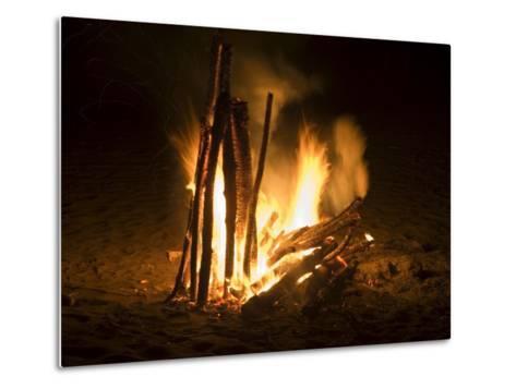 Bonfire on Beach, Punta Islita, Nicoya Pennisula, Pacific Coast, Costa Rica, Central America-R H Productions-Metal Print