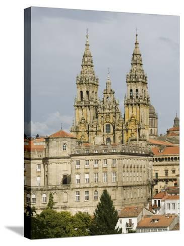 Santiago Cathedral with the Palace of Raxoi in Foreground, Santiago De Compostela, Spain-R H Productions-Stretched Canvas Print