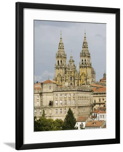 Santiago Cathedral with the Palace of Raxoi in Foreground, Santiago De Compostela, Spain-R H Productions-Framed Art Print