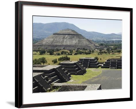 View from Pyramid of the Moon of the Avenue of the Dead and the Pyramid of the Sun Beyond-R H Productions-Framed Art Print