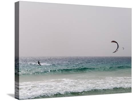 Kite Surfing at Santa Maria on the Island of Sal (Salt), Cape Verde Islands, Africa-R H Productions-Stretched Canvas Print