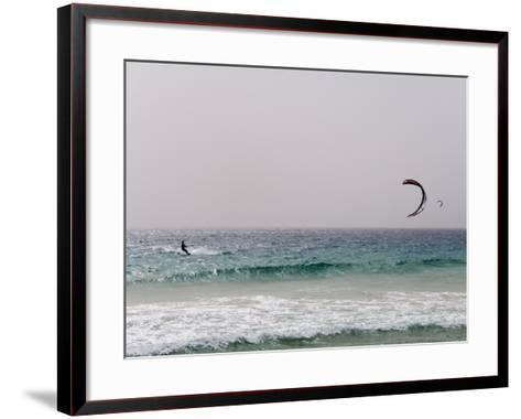 Kite Surfing at Santa Maria on the Island of Sal (Salt), Cape Verde Islands, Africa-R H Productions-Framed Art Print