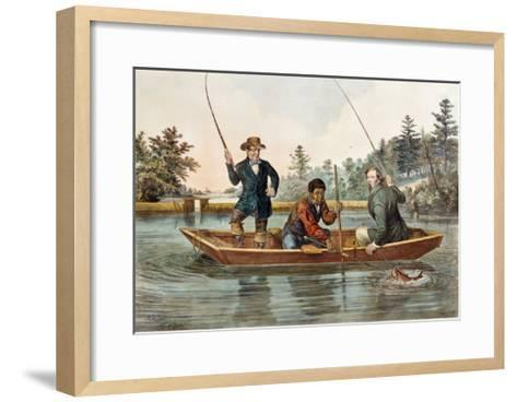 Catching a Trout, We Hab You Now, Sar!, 1854, Published by Nathaniel Currier-Mary Cassatt-Framed Art Print
