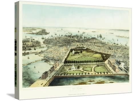A Bird's Eye View of Boston, 1850-John Bachman-Stretched Canvas Print