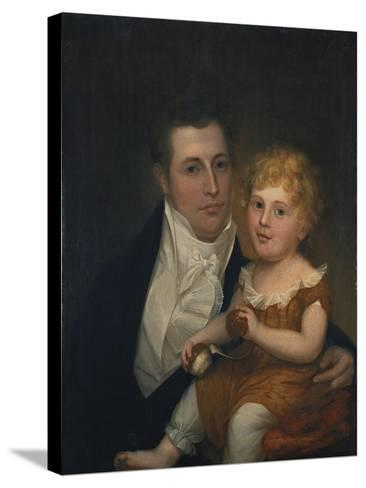 Portrait of Dr. Samuel Simes and His Daughter, Mary Jane-Thomas Birch-Stretched Canvas Print