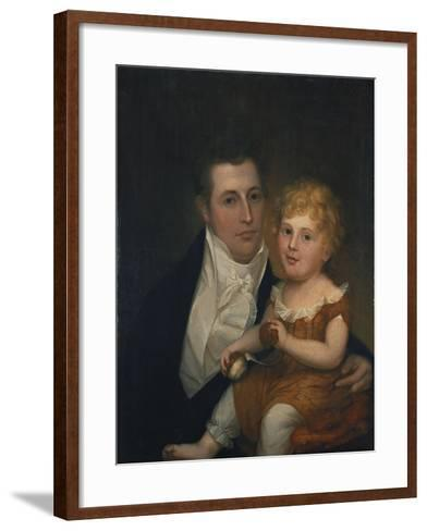 Portrait of Dr. Samuel Simes and His Daughter, Mary Jane-Thomas Birch-Framed Art Print