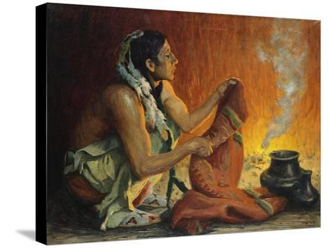 Smoke Ceremony-Eanger Irving Couse-Stretched Canvas Print