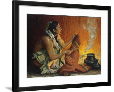 Smoke Ceremony-Eanger Irving Couse-Framed Art Print