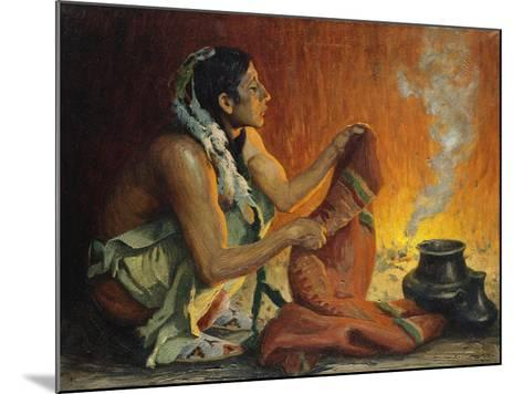 Smoke Ceremony-Eanger Irving Couse-Mounted Giclee Print
