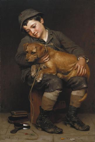 Friends-John George Brown-Stretched Canvas Print