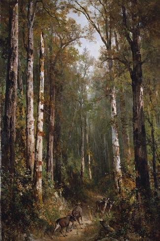 In the Forest, 1885-Thomas Hill-Stretched Canvas Print