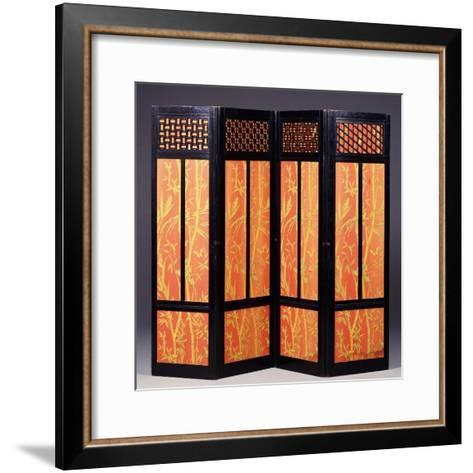 An Ebonised Four Fold Aesthetic Movement Screen, English Circa 1875--Framed Art Print