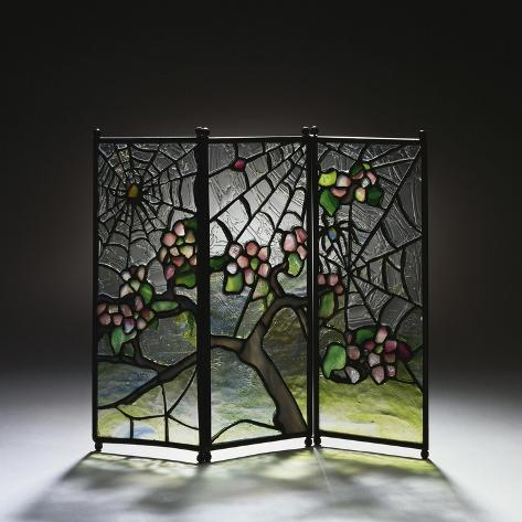Stylized Apple Blossom Branches and Spider Webs Leaded Glass and Bronze Three-Panel Tea Screen-Adler & Sullivan-Stretched Canvas Print