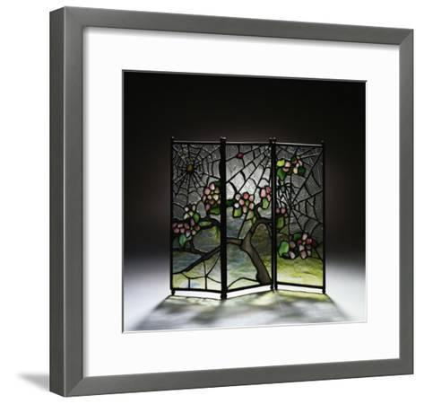 Stylized Apple Blossom Branches and Spider Webs Leaded Glass and Bronze Three-Panel Tea Screen-Adler & Sullivan-Framed Art Print