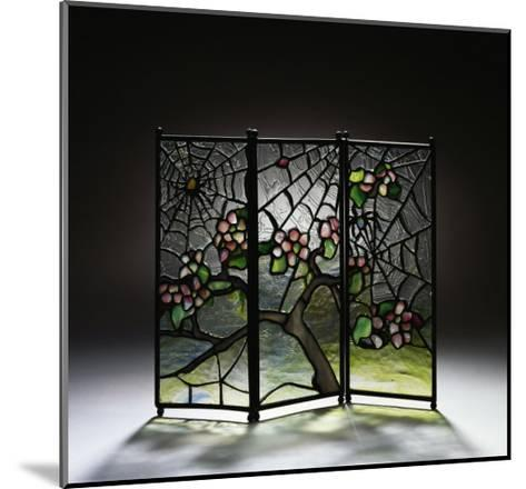 Stylized Apple Blossom Branches and Spider Webs Leaded Glass and Bronze Three-Panel Tea Screen-Adler & Sullivan-Mounted Giclee Print