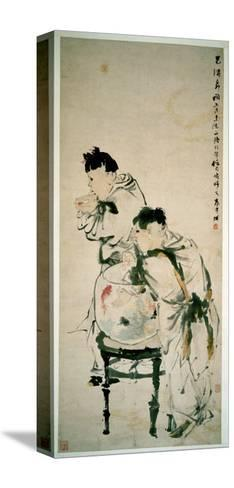 Two Boys Playing with Goldfish, Hanging Scroll, Ink and Colour on Paper, 1879-Wu Changshuo-Stretched Canvas Print