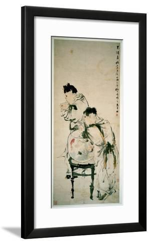 Two Boys Playing with Goldfish, Hanging Scroll, Ink and Colour on Paper, 1879-Wu Changshuo-Framed Art Print