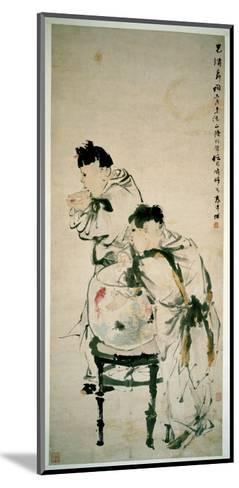 Two Boys Playing with Goldfish, Hanging Scroll, Ink and Colour on Paper, 1879-Wu Changshuo-Mounted Giclee Print