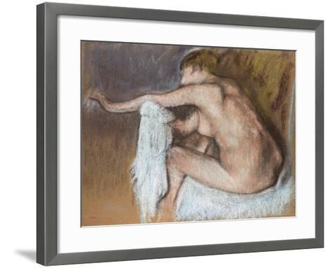 Woman Drying Her Arm, Circa 1884-Edgar Degas-Framed Art Print