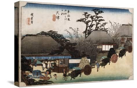 The Running Well Teahouse, Otsu', from the Series 'The Fifty-Three Stations of the Tokaido'-Ando Hiroshige-Stretched Canvas Print