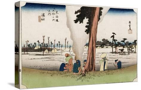 Winter View, Hamamatsu, from the Series 'The Fifty-Three Stations of the Tokaido', Circa 1834-Ando Hiroshige-Stretched Canvas Print